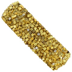 Modernist Design Diamond and Textured Gold Bracelet