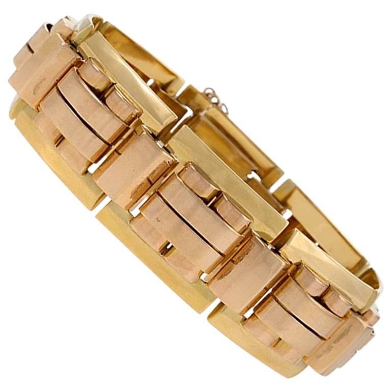 Bi-Color Gold Tank Track Link Bracelet