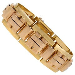 French 1940's Retro Pink and Yellow Gold Link Bracelet