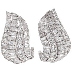 1950's Ruser Diamond Platinum Earrings