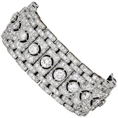 Art Deco Diamond and Platinum Buckle Bracelet