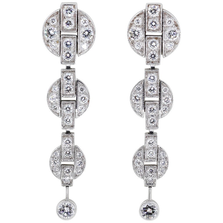 Cartier Himalia Diamond White Gold Drop Earrings For Sale