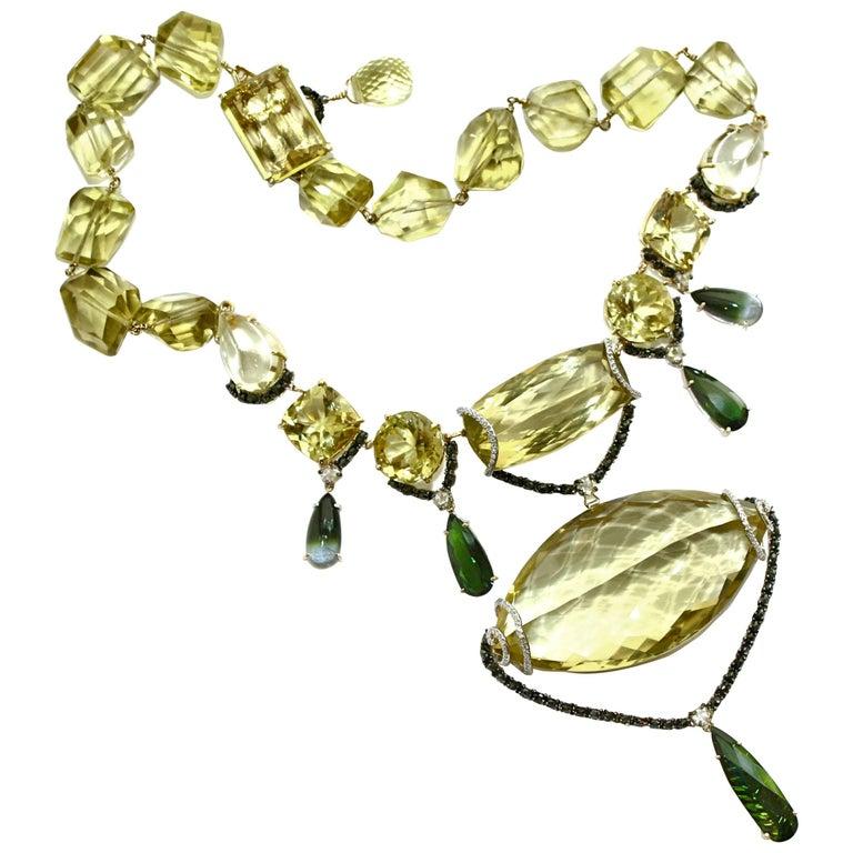 Sharon Khazzam Lemon Quartz, Green Tourmaline and Diamond Melanie Necklace For Sale