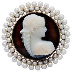Sardonyx Antique Hard Stone Cameo Signed Pin Pendant Seed Pearls Yellow Gold