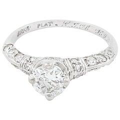 Birks Art Deco Diamond Platinum Engagement Ring
