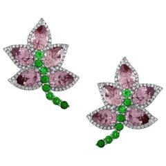 Unique Blush Zircons Tsavorite Diamond Gold Earrings