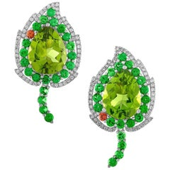 "Divine Peridot Tsavorite Diamond Earrings in Gold, ""August Leafs"""