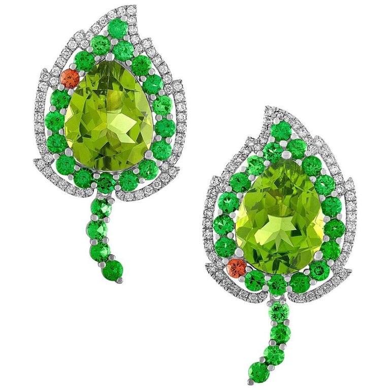 """Divine Peridot Tsavorite Diamond Earrings in Gold, """"August Leafs"""""""