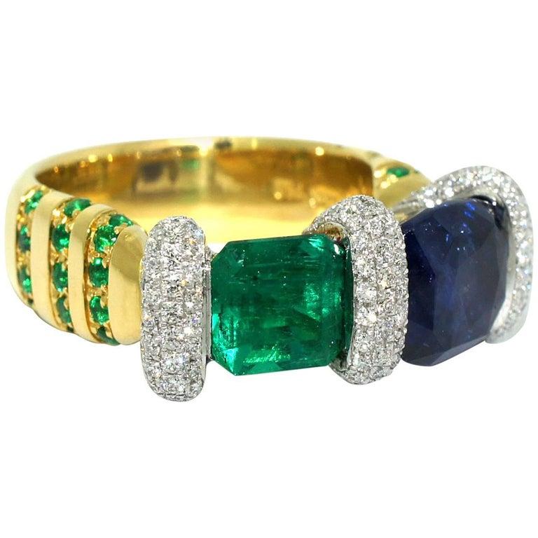 Lizunova Handmade Sapphire, Emerald & Diamond Ring in 18k yellow & white gold