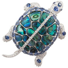 Ella Gafter Sapphire and Diamond White Gold Turtle Brooch Pin