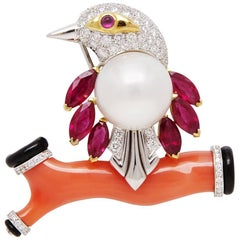 Ella Gafter Bird Coral Pearl Ruby Diamond White Gold  Brooch Pin
