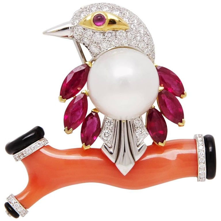 Ella Gafter Coral Pearl Ruby Diamond Bird Brooch Pin For Sale