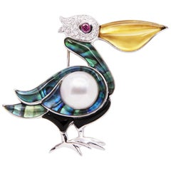 Ella Gafter Pelican White Pearl and Diamond White Gold Brooch Pin