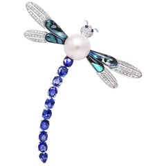 Ella Gafter Dragonfly Sapphire Diamond Pearl Gold Brooch Pin