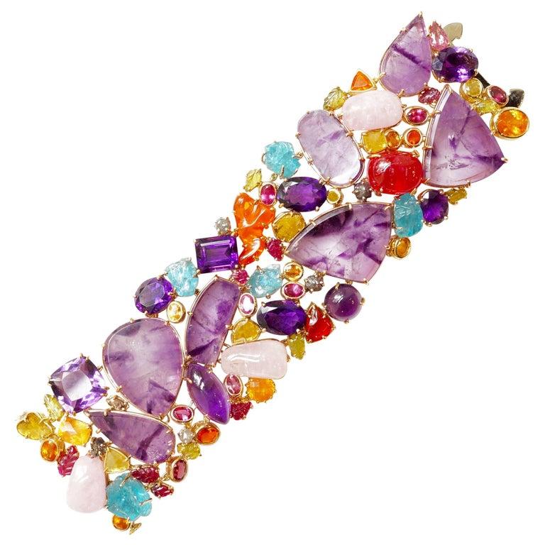 Sharon Khazzam 18 Karat Gold Multicolored Gemstone and Diamond Bracelet For Sale