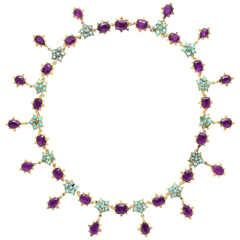 Victorian Era Turquoise Petal and Amethyst Necklace