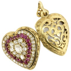 Rare French Belle Epoque Yellow Gold Old Mine Cut Ruby Heart Locket