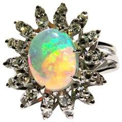 Amazing Opal Diamond Starburst White Gold Ring