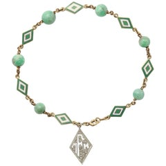 Jade and Enamel Art Deco Bracelet with Diamond Monogram Charm