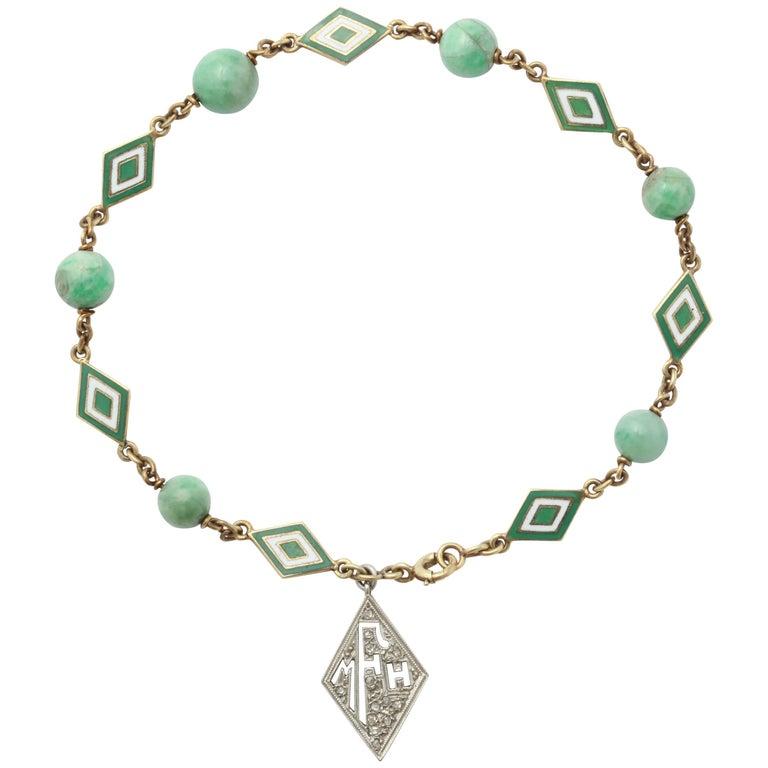 Jade and Enamel Art Deco Bracelet with Diamond Monogram Charm