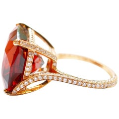 20 Karat Rose Gold 28.86 Carat Garnet and White Diamond Ring