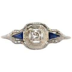 .05 Carat 18 Karat White Gold Diamond and Sapphire Engagement Ring