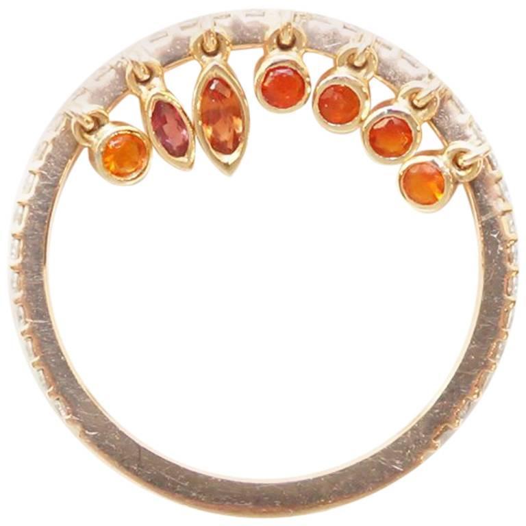 18 Karat Rose Gold White Diamond, Fire Opal and Orange Sapphire Shimmee® Ring