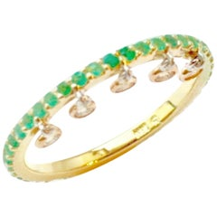 Emerald and Yellow Diamond Shimmee Ring