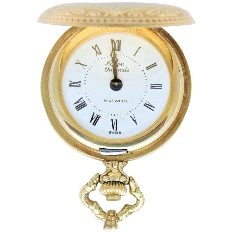 Le Soir Yellow Gold Antique Pocket Watch Pendant Necklace