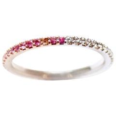 White Diamond and Pink Sapphire Shareena Band Ring
