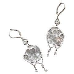 Grey and White Diamond Slice Valencia Earrings