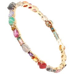 18 Karat Multicolored Gemstone and Diamond Bangle Bracelet