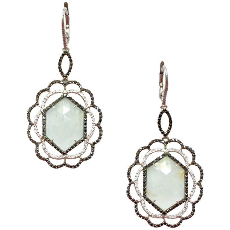 Sharon Khazzam Aquamarine, White and Black Diamond Nastasia Earrings For Sale