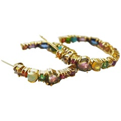Multicolored Gemstone and Diamond Hoop Earrings