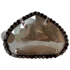 11.20 Carat Grey Diamond Bintou Ring with Black Diamonds