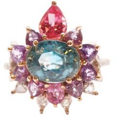 3.84 Carat Blue Zircon, Sapphire, Spinel and Diamond Arnez Ring
