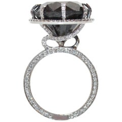 14.60 Carat Natural Black Diamond Ring with White Diamonds