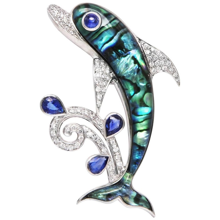 Ella Gafter Dolphin Sapphire and Diamond White Gold Brooch Pin