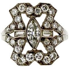 Art Deco Platinum Diamond Panel Ring