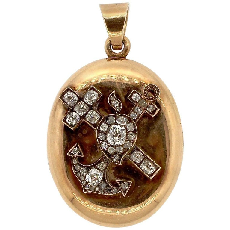 Victorian Faith, Hope and Charity Old Mine Cut Diamond Gold Pendant Locket