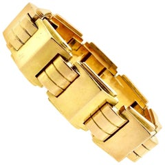 Modernist Art Deco French Gold Tank Bracelet