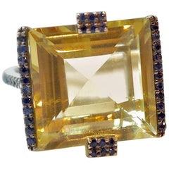 Sharon Khazzam 14.38 Carat Lemon Quartz, Blue Sapphire and White Diamond Ring