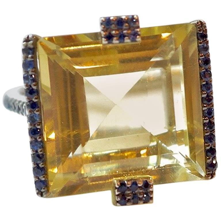 14.38 Carat Lemon Quartz, Blue Sapphire and White Diamond Gaston Ring For Sale