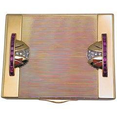 Art Deco Tiffany Gold and Platinum Ruby and Diamond Compact with Leather Sleeve
