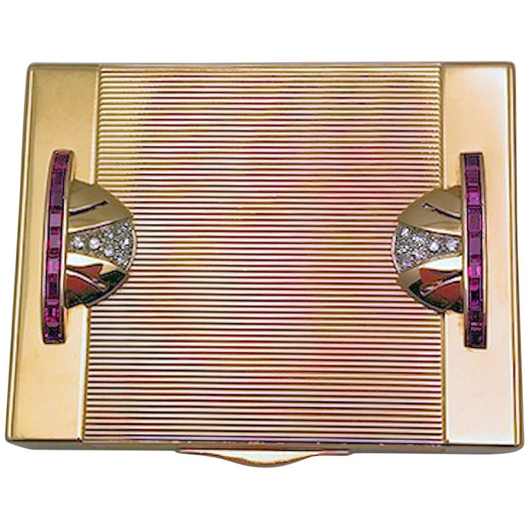 Art Deco Tiffany Gold and Platinum Ruby and Diamond Compact with Leather Sleeve For Sale