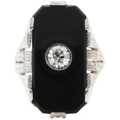 White Gold Art Deco Diamond and Onyx Ring with Hand Engraving