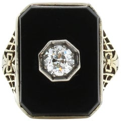 Yellow Gold Victorian Diamond and Onyx Ring with Filigree