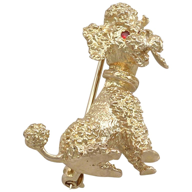 1960s Garnet and Yellow Gold 'Poodle' Brooch