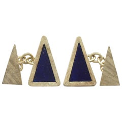 1970s Lapis Lazuli and Yellow Gold Cufflinks