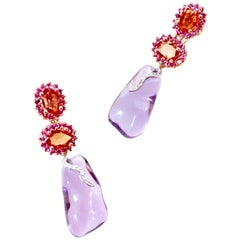 Amethyst, White Diamond, Orange and Pink Sapphire Detachable Larra Earrings